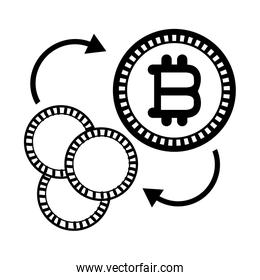 bitcoins and coins icon black and white