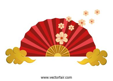 chinese fan and clouds