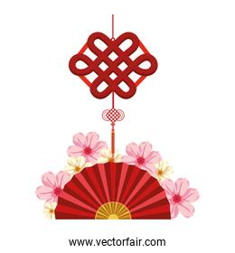 chinese fan and decorative pendant