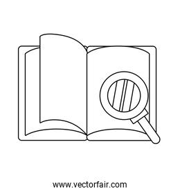 magnifying glass with book