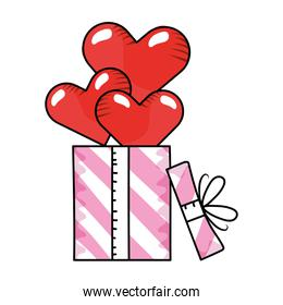 heart with gift boxes