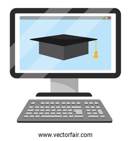 online education computer cartoon