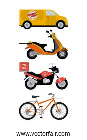 delivery service vehicles vector illustrator