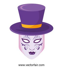 top hat with mask