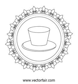 top hat round icon in black and white