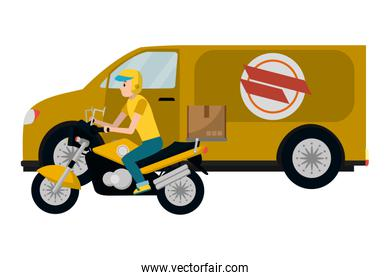 delivery motorcycle and van