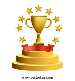 Trophy cup with stars vector illustration