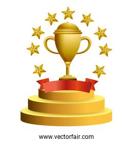 Trophy cup with stars