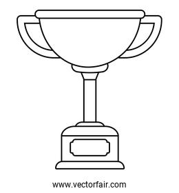 Trophy cup award on wooden box black and white black and white