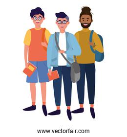 young people friends cartoon
