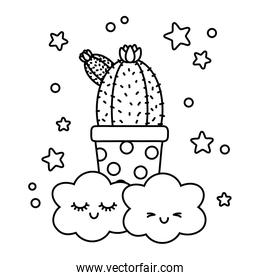 cactus icon cartoon with clouds black and white