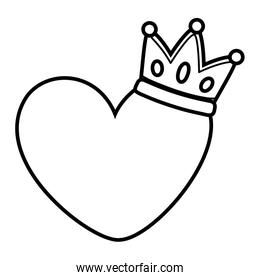 heart and crown black and white