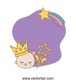 cat with crown and wand frame