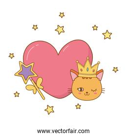 cat and wand with heart