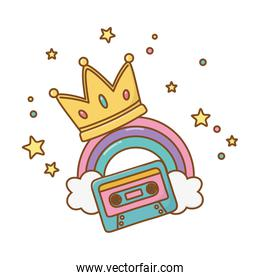 cassette with crown and rainbow