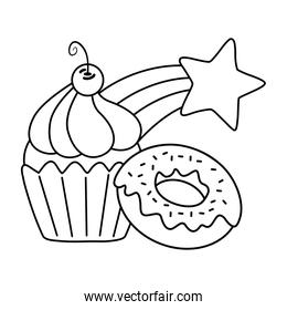 muffin with donut and shooting star black and white