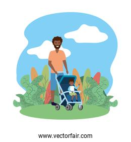 father with baby carriage