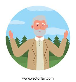 old man avatar round icon