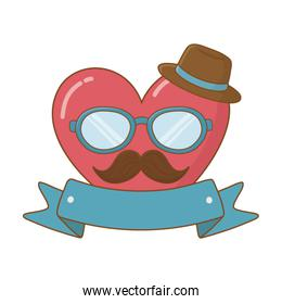 heart with glasses hat and moustache