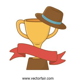 trophy with hat and ribbon