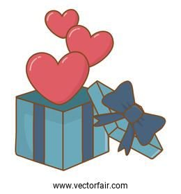 gift box with hearts floating  icon