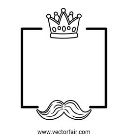 crown and moustache frame black and white