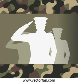 military officer silhouette and camouflage