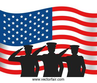 united state flag with military officer silhouette
