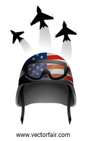 military helmet and airplane isolated icon