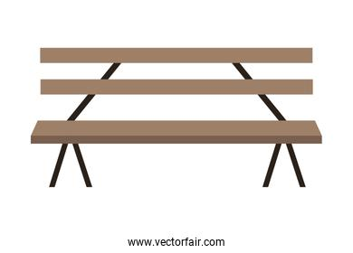Wooden park bench craft isolated