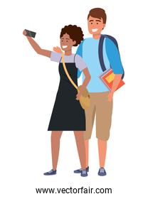 Millennial student couple smiling