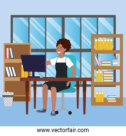 Student sitting in library desk background