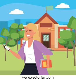 Student using smartphone on campus background