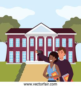 Millennial student couple on campus background