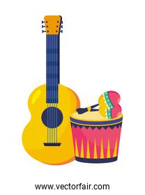 musical instruments party cartoons vector illustration