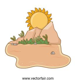 Desert with rocks and sun scenery