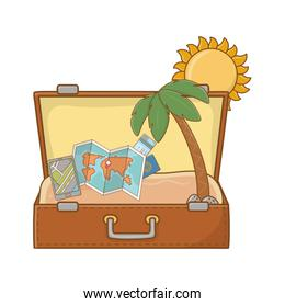 suitcase cartoon summer and travel