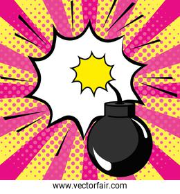 Pop art explosive bomb cartoon