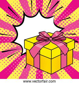 Pop art gift box cartoon