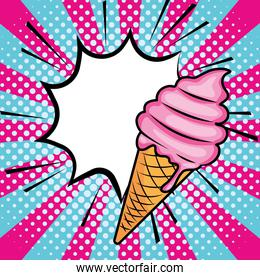 Pop art ice cream cartoon