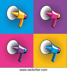 Pop art bullhorn cartoon on colorful frames