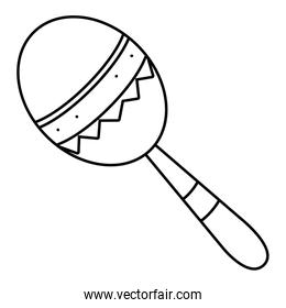 maraca musical instrument in black and white