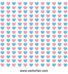 hearts blue and pink pattern background