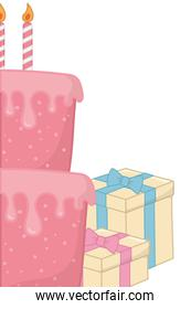 Cake with gift boxes close up
