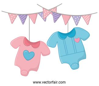 baby clothes and pendants vector illustration