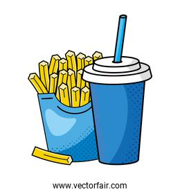 french fries with soda vector illustration