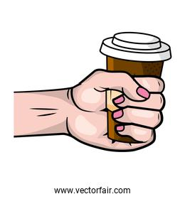 hand holding a coffee paper cup