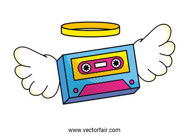 cassette with wings vector illustration