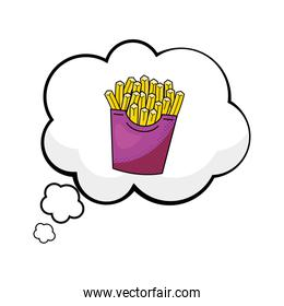 french fries into a speech bubble