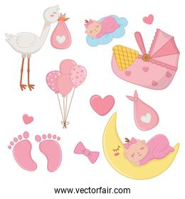 set of newborn baby elements vector illustration